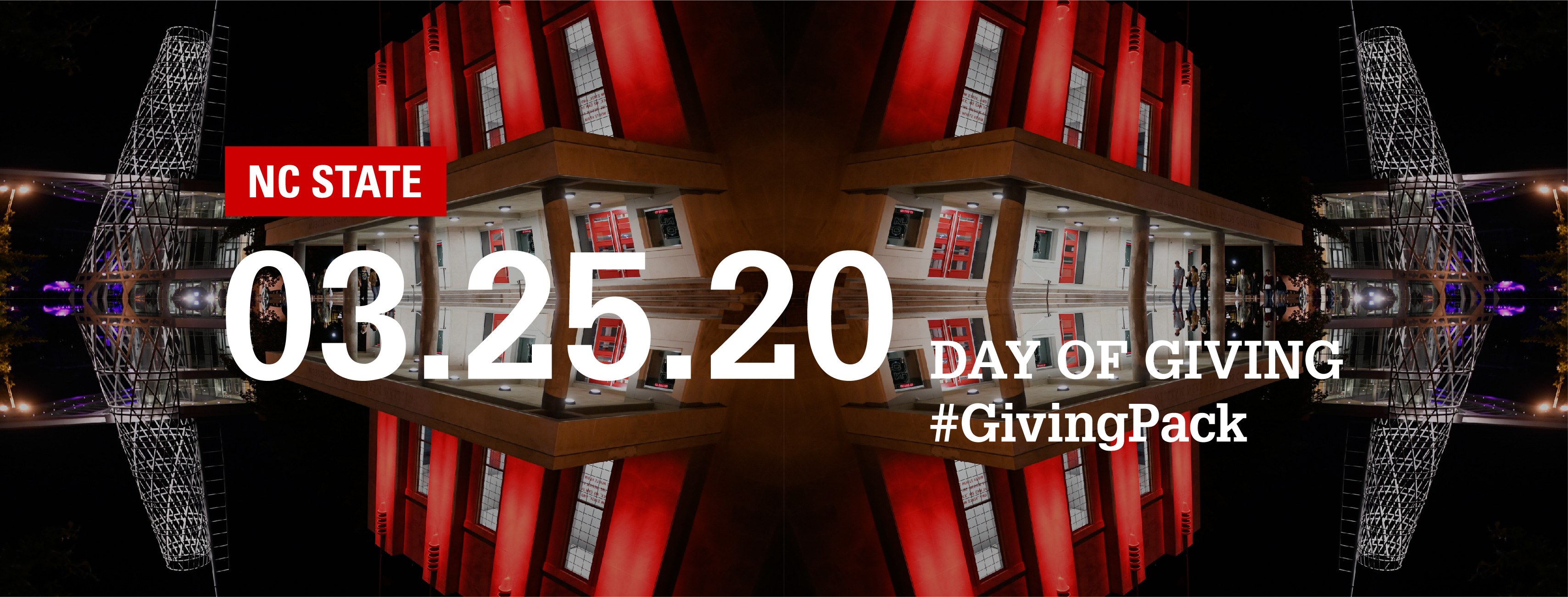 Facebook cover photo with image of Reynolds Coliseum and text reading NC State 03.25.20 Day of Giving Hashtag Giving Pack