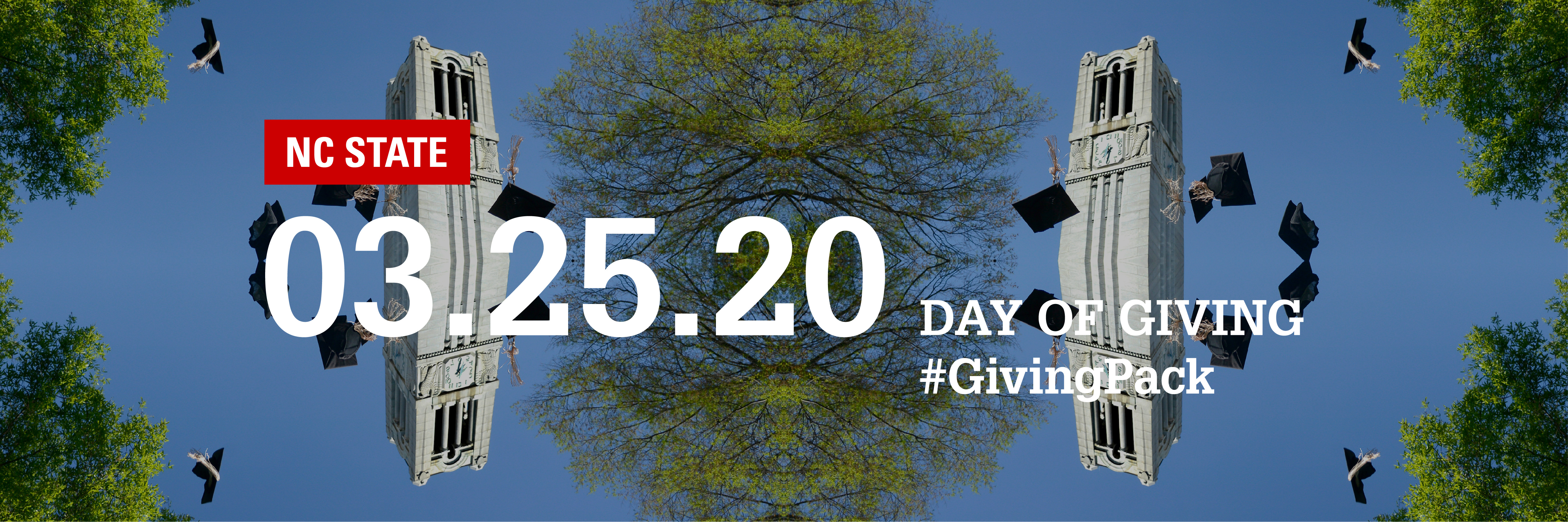 Twitter cover photo with image of the belltower and text reading NC State 03.25.20 Day of Giving Hashtag Giving Pack