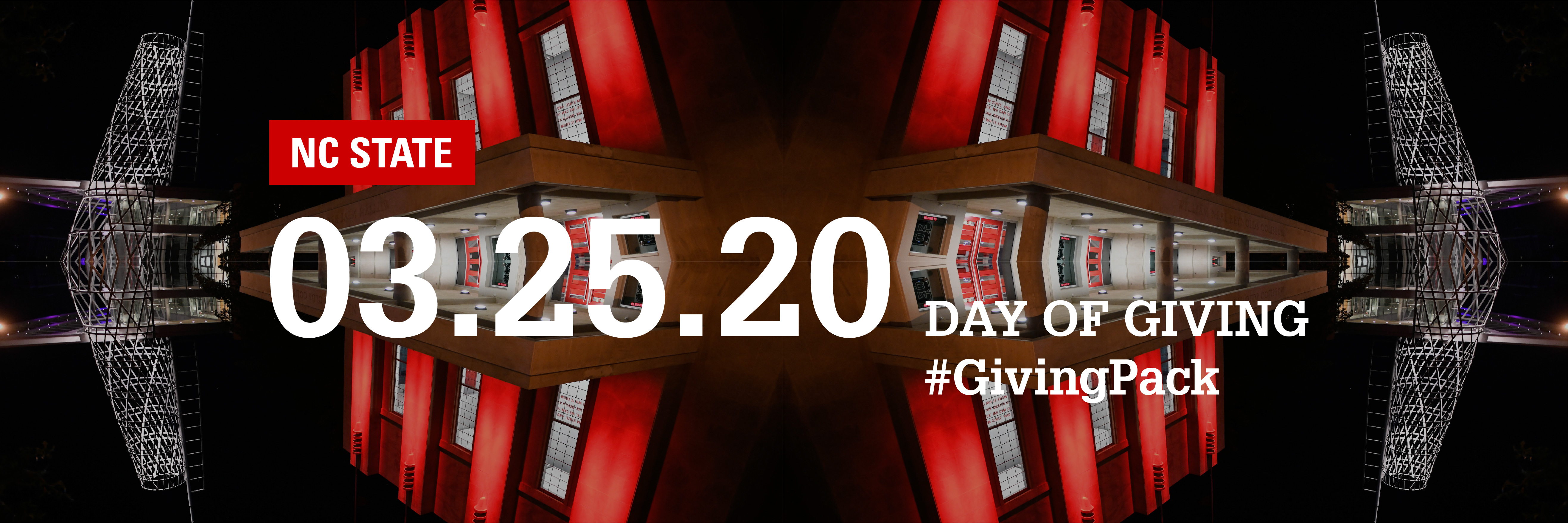 Twitter cover photo with image of Reynolds Coliseum and text reading NC State 03.25.20 Day of Giving Hashtag Giving Pack