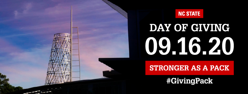 Facebook cover photo with image of the Talley student union tower and text reading NC State Day of Giving 09.16.20 Stronger as a Pack Hashtag Giving Pack