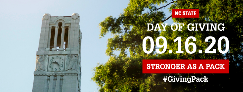 Facebook cover photo with image of the belltower and text reading  NC State Day of Giving 09.16.20 Stronger as a Pack Hashtag Giving Pack
