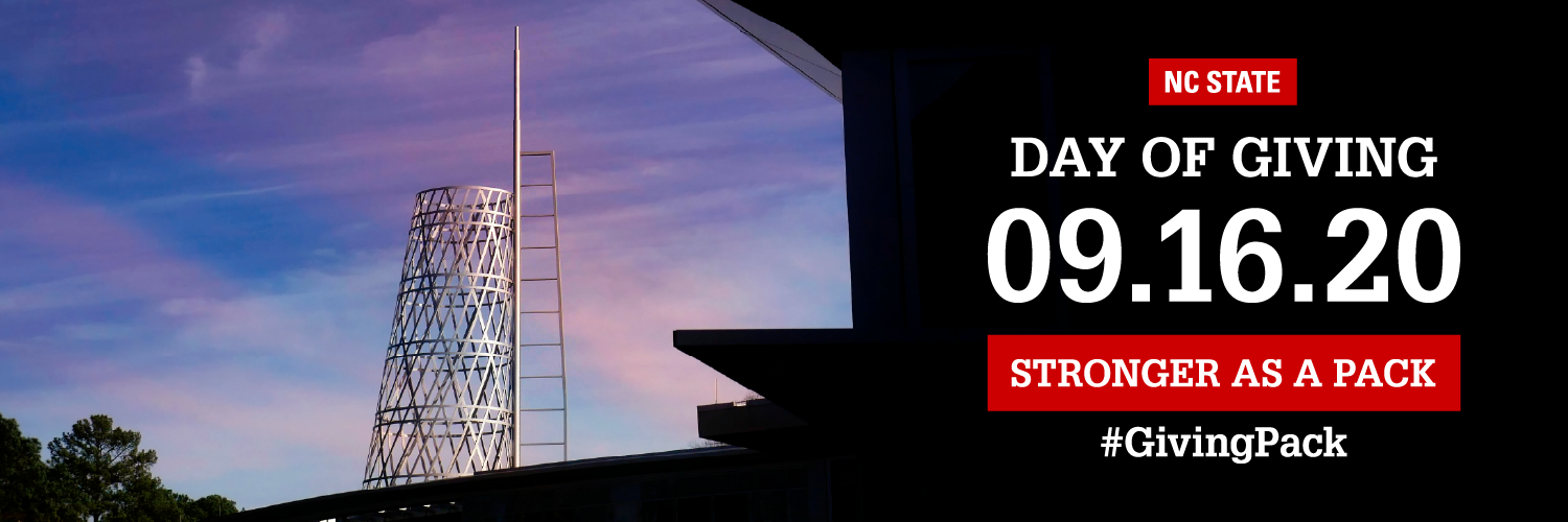 Twitter cover photo with image of the Talley student union tower and text reading NC State Day of Giving 09.16.20 Stronger as a Pack Hashtag Giving Pack