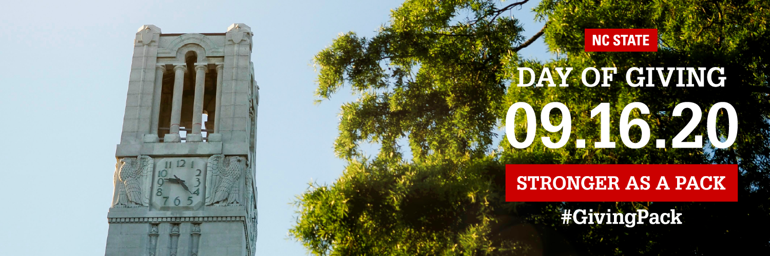 Twitter cover photo with image of the belltower and text reading  NC State Day of Giving 09.16.20 Stronger as a Pack Hashtag Giving Pack