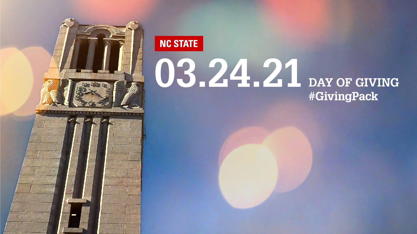 Facebook cover photo with image of the NC State belltower and text reading NC State 03.24.21 Day of Giving Hashtag Giving Pack