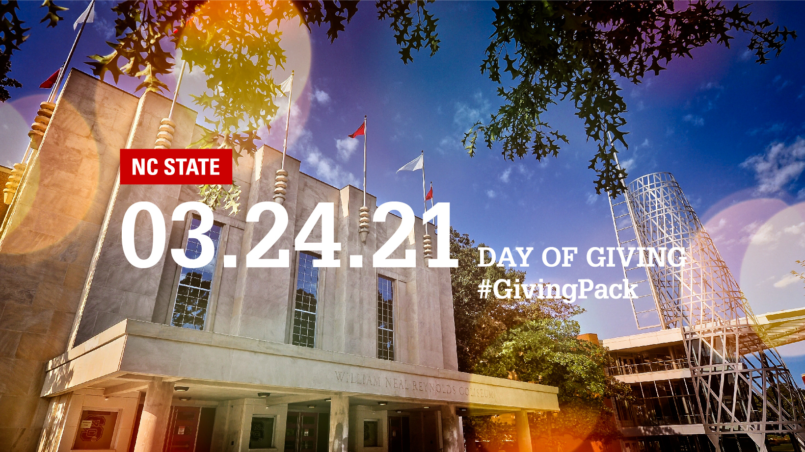 Facebook cover photo with image of Reynolds Coliseum and text reading NC State 03.24.21 Day of Giving Hashtag Giving Pack