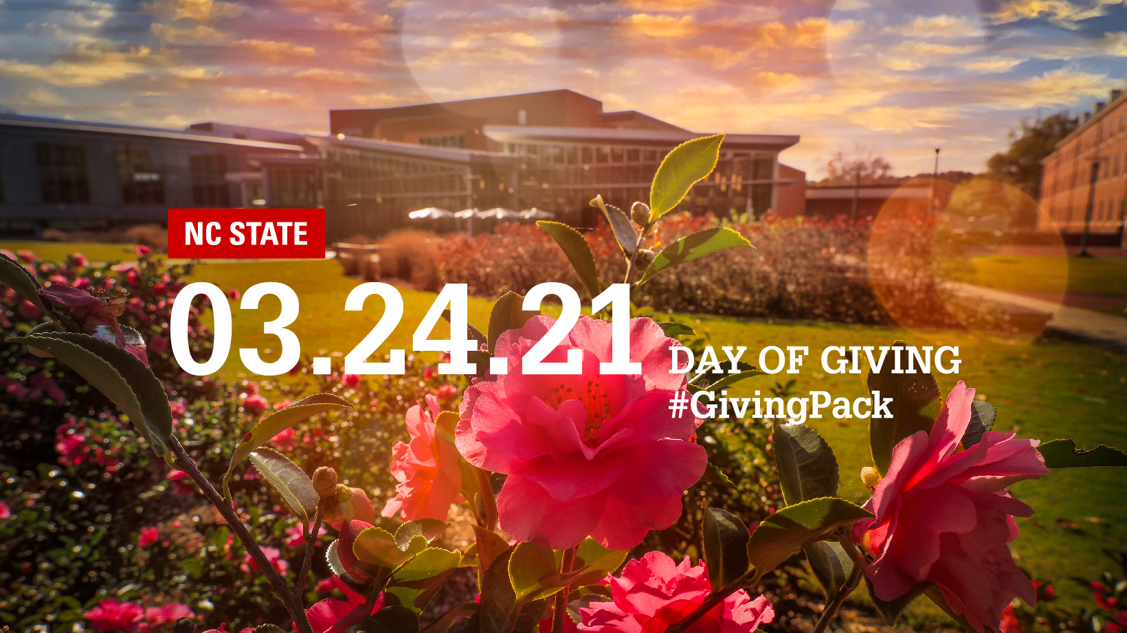 Facebook cover photo with image of flowers at the Talley Student Union courtyard and text reading NC State 03.24.21 Day of Giving Hashtag Giving Pack
