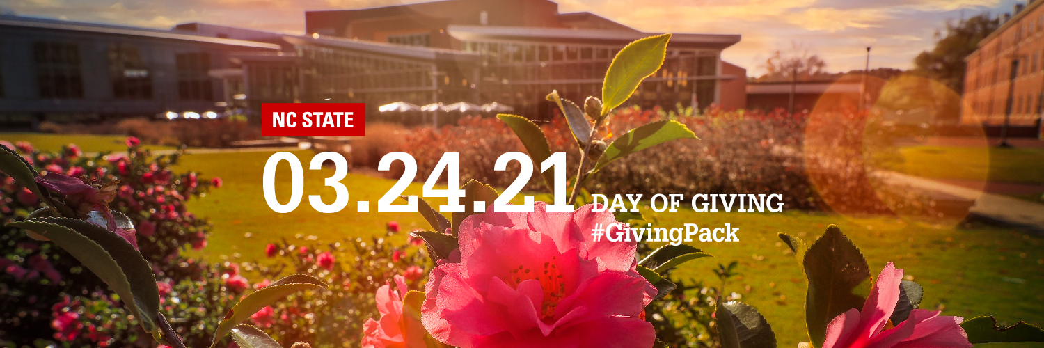 Twitter cover photo with image of flowers at the Talley Student Union courtyard and text reading NC State 03.24.21 Day of Giving Hashtag Giving Pack