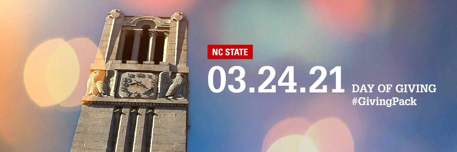 Twitter cover photo with image of the NC State belltower and text reading NC State 03.24.21 Day of Giving Hashtag Giving Pack