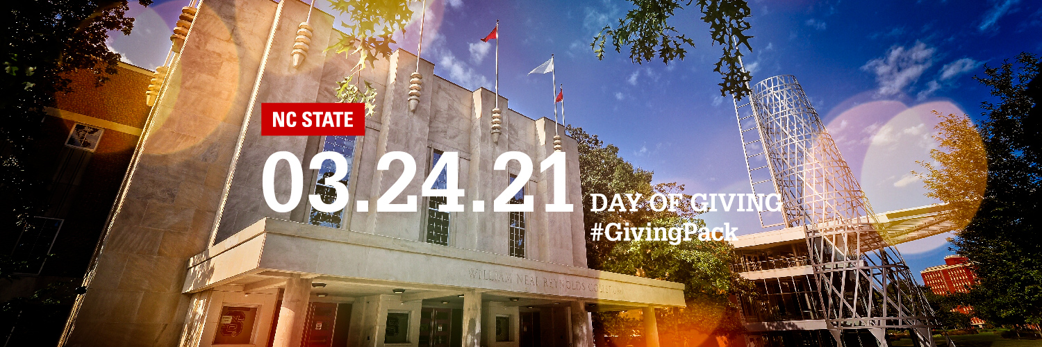Twitter cover photo with image of Reynolds Coliseum and text reading NC State 03.24.21 Day of Giving Hashtag Giving Pack