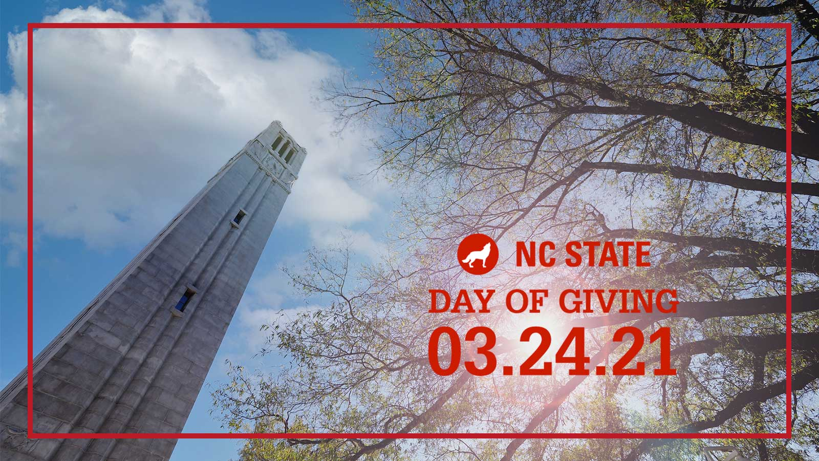 Twitter image of the belltower and text reading NC State Day of Giving 03.24.21